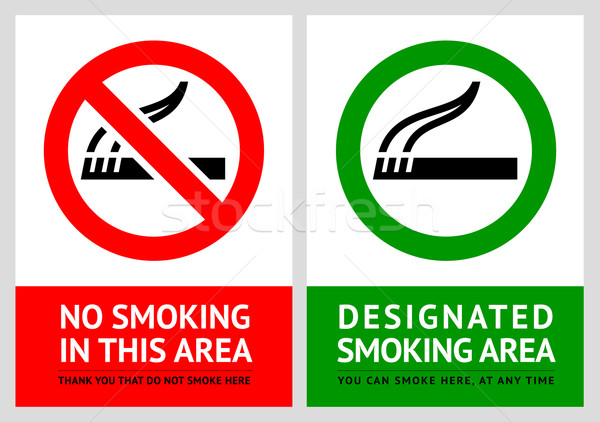 No smoking and Smoking area labels - Set 4 Stock photo © Ecelop