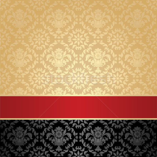 Seamless pattern, floral decorative background, red ribbon Stock photo © Ecelop