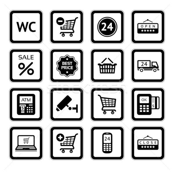 Set symbols supermarket services, Shopping Icons. Stock photo © Ecelop