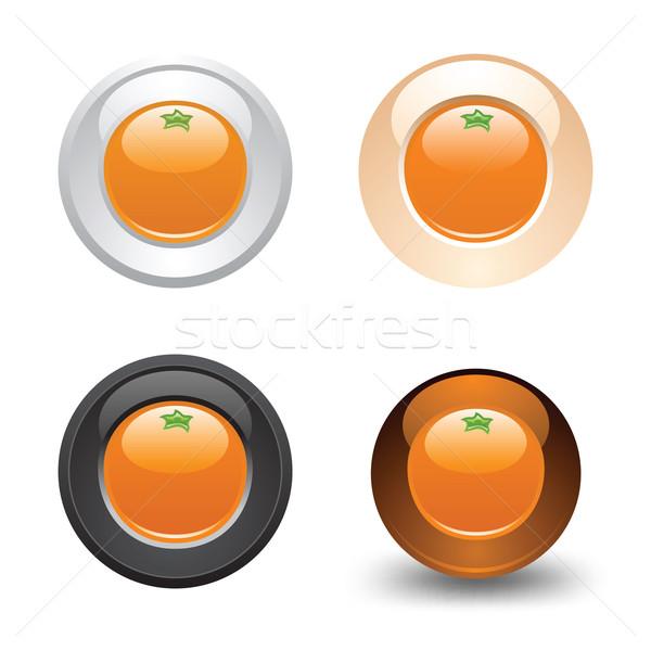 Orange bouton web 20 icônes Photo stock © Ecelop