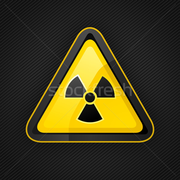Hazard warning triangle radioactive sign on a metal surface Stock photo © Ecelop