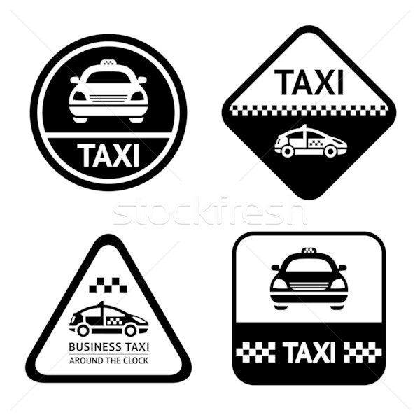 Stock photo: Taxi cab set black buttons