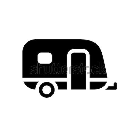 Jármű ikon karaván szürke kék izolált Stock fotó © Ecelop