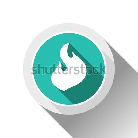 Feu flammes icônes ombre carré Photo stock © Ecelop