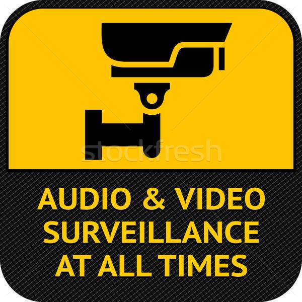 Cctv símbolo pictograma câmera de segurança aviso adesivo Foto stock © Ecelop