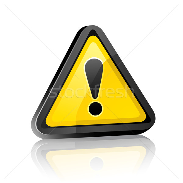 three-dimensional Hazard warning attention sign with exclamation mark  on white background with refl Stock photo © Ecelop