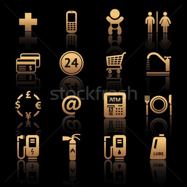 Stacji benzynowej symbolika przydrożny usług znaki zestaw Zdjęcia stock © Ecelop