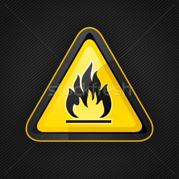 Danger avertissement triangle inflammable Photo stock © Ecelop