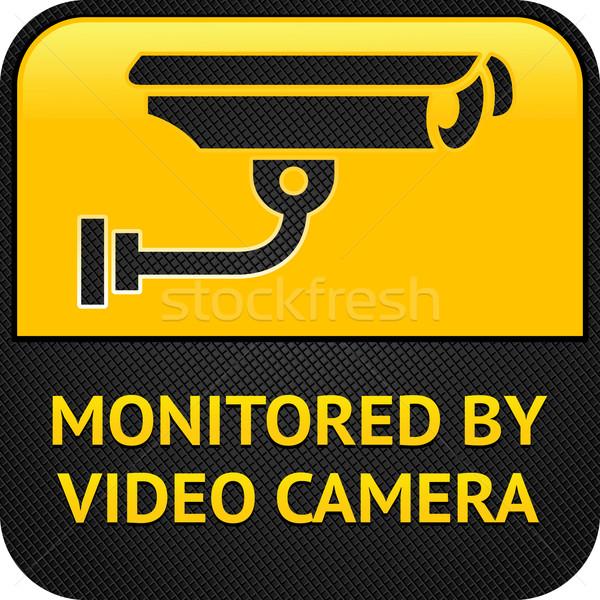 Foto stock: Cctv · pictograma · aviso · adesivo · segurança