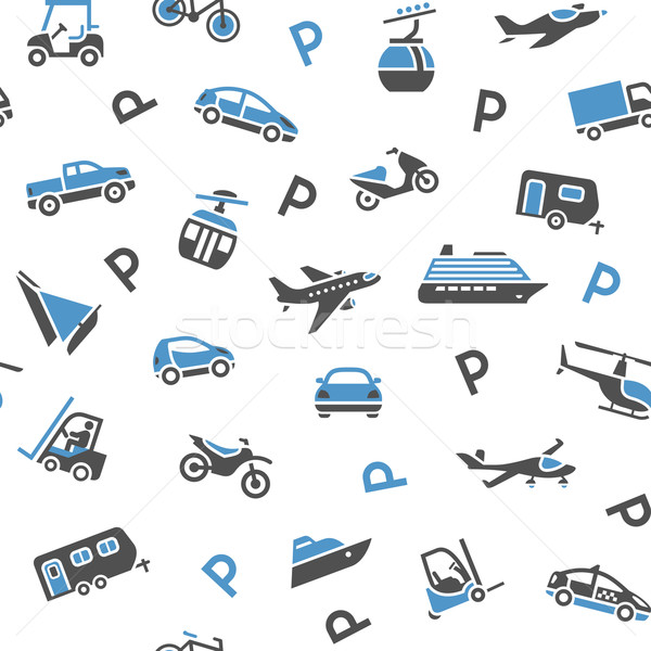 Stock photo: Seamless backdrop transport icons