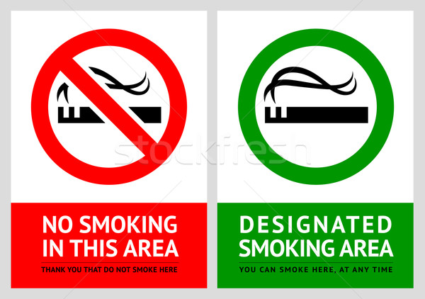 No smoking and Smoking area labels - Set 2 Stock photo © Ecelop
