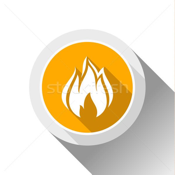 Feu flammes bouton ombre cercle forme Photo stock © Ecelop