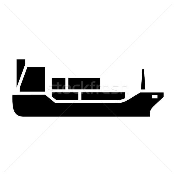 Stockfoto: Vervoer · water · zwarte · icon · geïsoleerd · witte