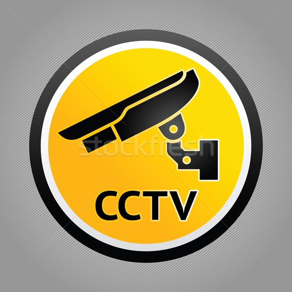 Inwigilacja kamery ostrzeżenie symbolika naklejki bezpieczeństwa Zdjęcia stock © Ecelop