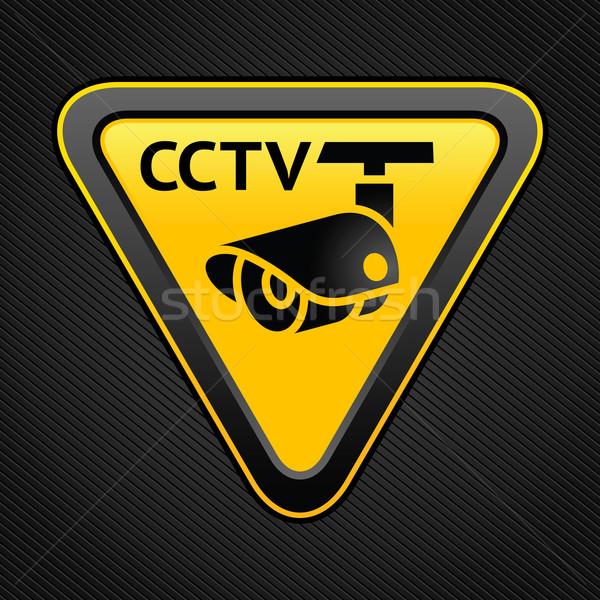 Cctv driehoek teken waarschuwing sticker veiligheid Stockfoto © Ecelop