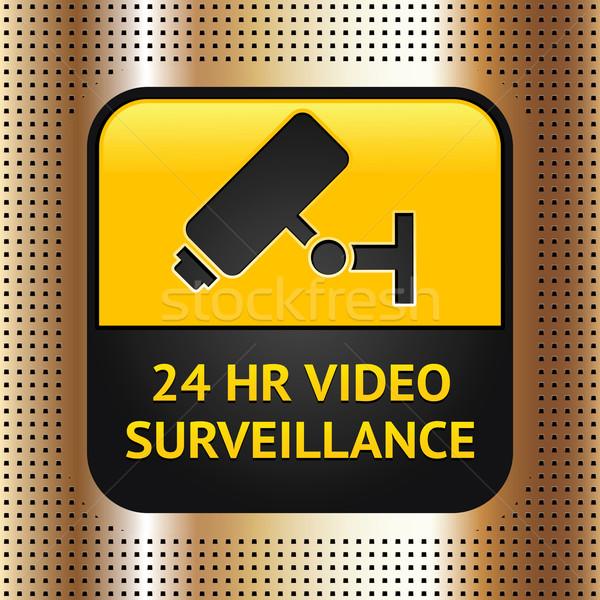 Foto stock: Cctv · símbolo · dorado · metálico · tecnología · información
