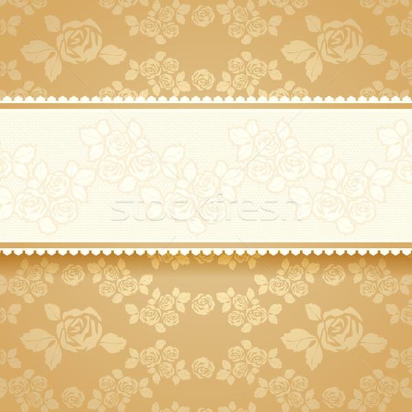 Gouden rozen vierkante bloem steeg goud Stockfoto © Ecelop