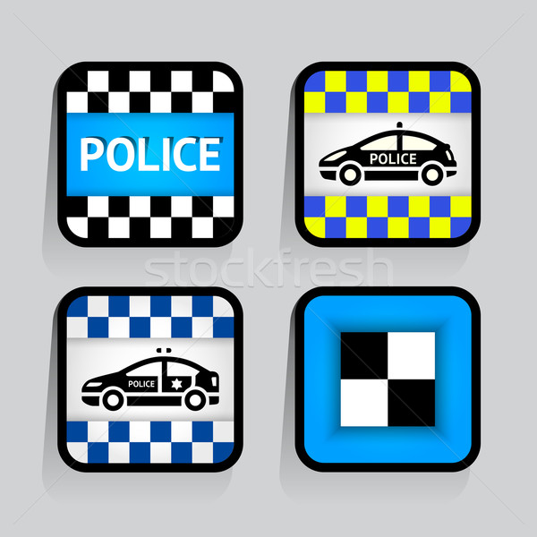 Police - set stickers square on the gray background Stock photo © Ecelop