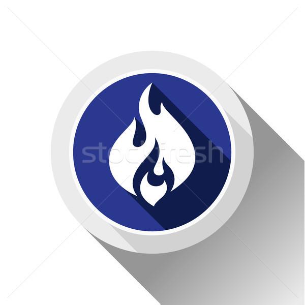 Fogo chamas botão sombra círculo forma Foto stock © Ecelop