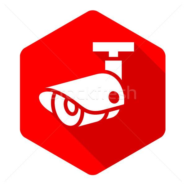 белый камеры красный шестиугольник аннотация знак Сток-фото © Ecelop