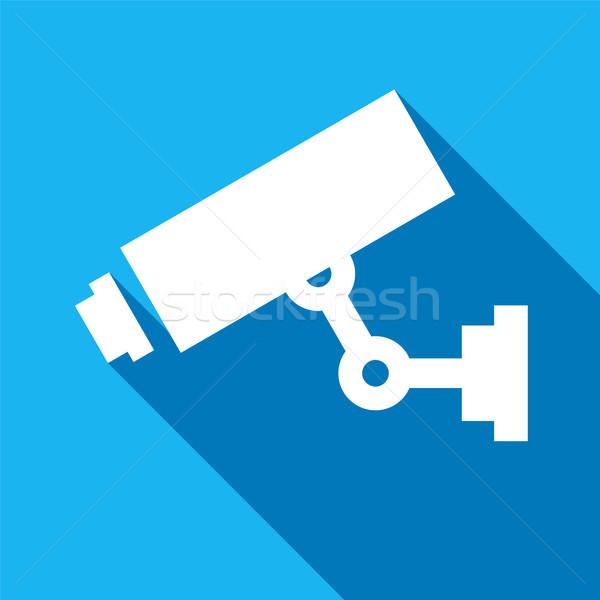 белый наблюдение камеры синий квадратный знак Сток-фото © Ecelop