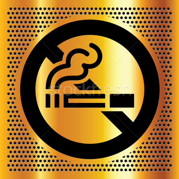 No smoking symbol on a gold backdrop Stock photo © Ecelop