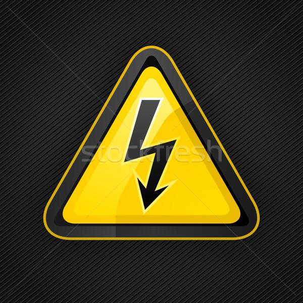 опасность предупреждение треугольник высокое напряжение знак металлической поверхности Сток-фото © Ecelop