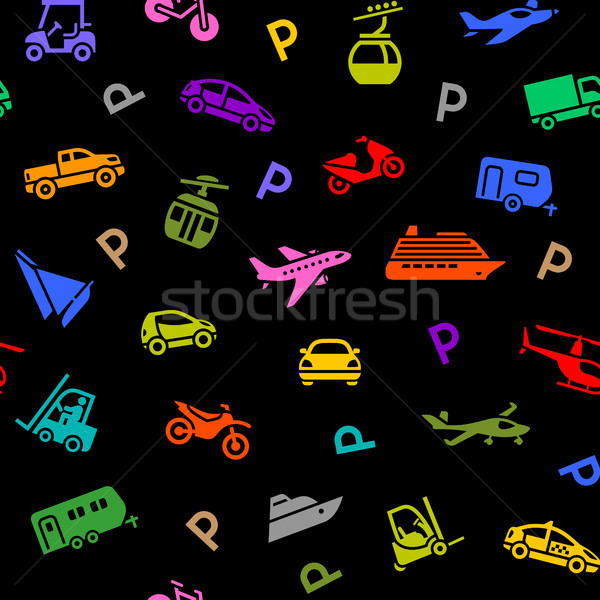 Stock photo: Seamless backdrop, transport colored icons