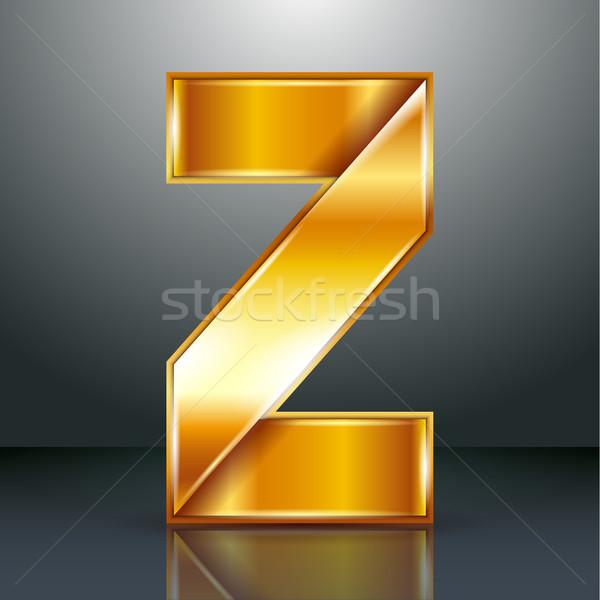 Letter metal gold ribbon - Z Stock photo © Ecelop