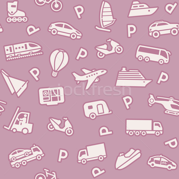 Seamless background, transport icons, wrapping paper Stock photo © Ecelop