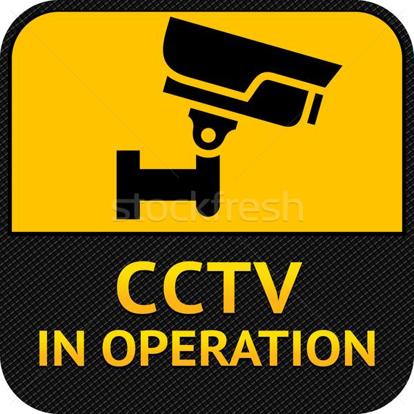 Cctv szimbólum címke biztonsági kamera figyelmeztetés matrica Stock fotó © Ecelop