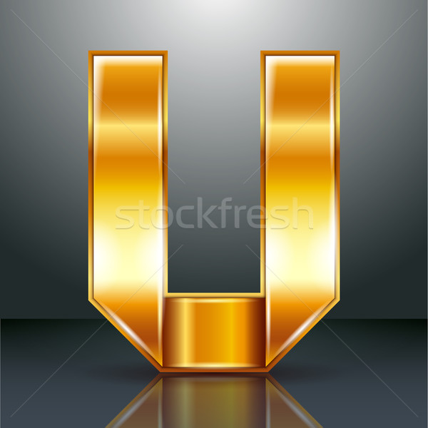 Letter metal gold ribbon - U Stock photo © Ecelop