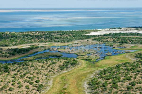 Tropische kust luchtfoto ondiep kust Mozambique Stockfoto © EcoPic