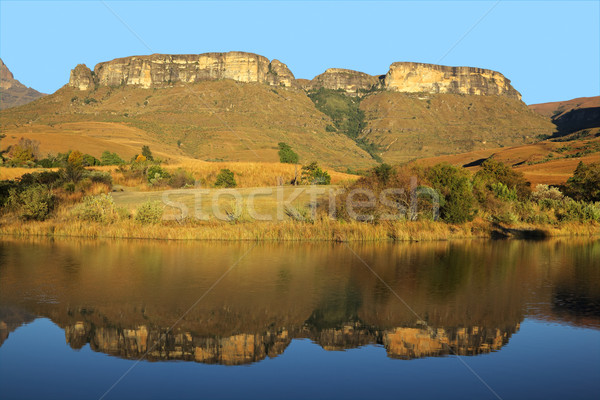 Sandstone mountains and reflection Stock photo © EcoPic