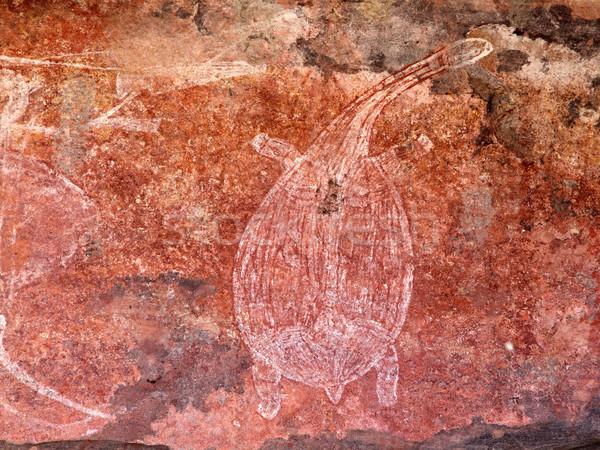Rock sztuki żółwia parku Zdjęcia stock © EcoPic
