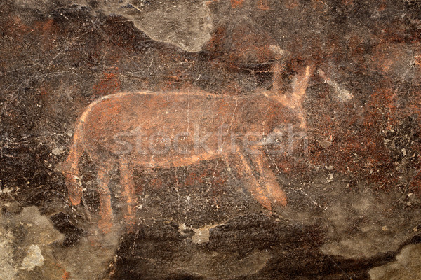Bushmen rock painting Stock photo © EcoPic