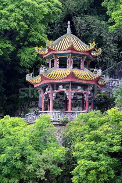 Kínai pagoda színes kert buja zöld Stock fotó © EcoPic