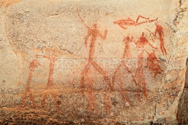 Stock photo: Bushmen rock painting