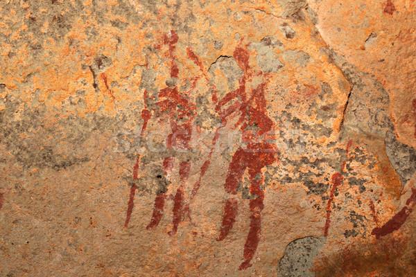 Bushmen rock painting Stock photo © EcoPic