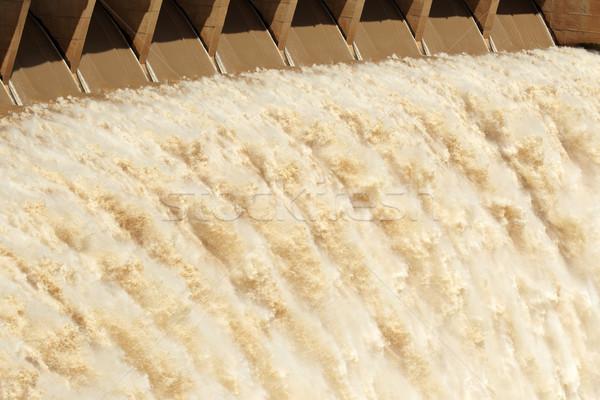 Dam wall with open sluice gates Stock photo © EcoPic