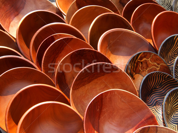 Wooden bowls Stock photo © EcoPic