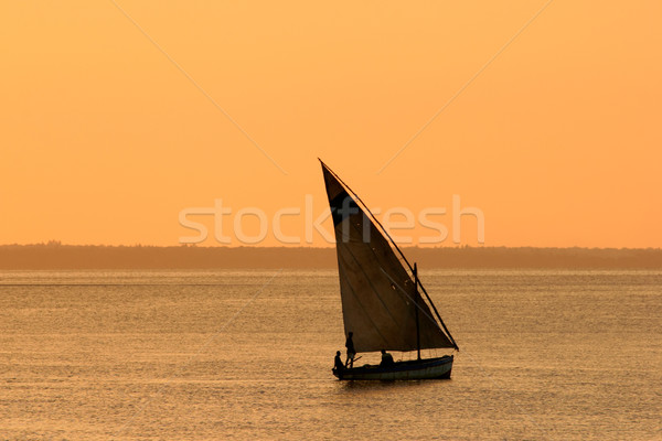 Mozambican dhow at sunset Stock photo © EcoPic