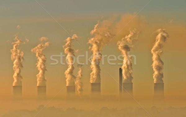 Ipari szmog levegő szennyezés elektromosság generáció Stock fotó © EcoPic