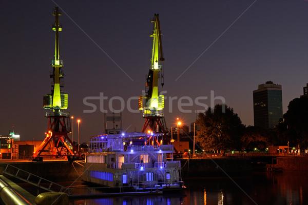 öreg kikötő Buenos Aires kilátás éjszaka Argentína Stock fotó © EcoPic