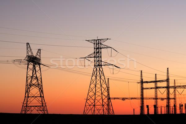 Power pylons Stock photo © EcoPic