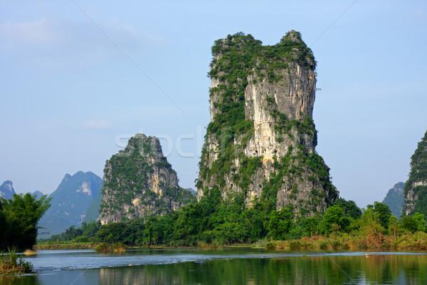 Caliza colinas China bancos agua naturaleza Foto stock © EcoPic