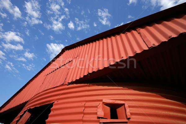 赤 納屋 空 青空 雲 自然 ストックフォト © EcoPic