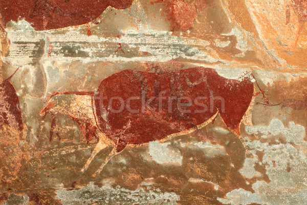 Stock photo: Bushmen rock painting