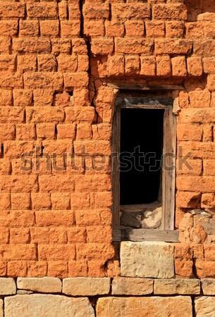 レンガの壁 空っぽ 木製 台無しにする 赤 ストックフォト © EcoPic