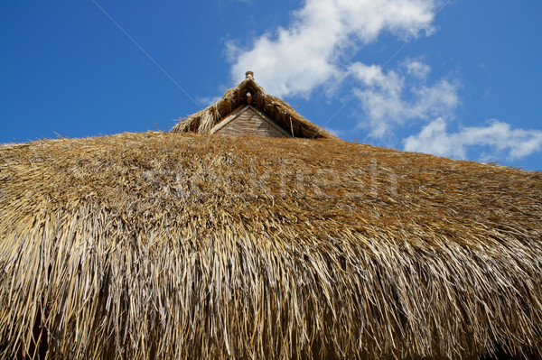 Foto stock: Techo · tradicional · África · cielo · azul · nubes · construcción